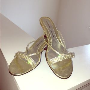Pre-loved Chinese Laundry Gold Stones Kitten Heels